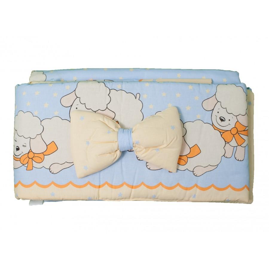 Комплект для кроватки «Овечки» (4 предмета: простынка, наволочка, пододеяльник, бортик + подушечка-бантик)  Alvi (284777)