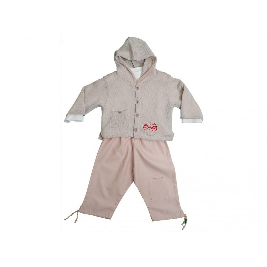 Комплект из 3-х предметов (брюки, футболка, вязанный жакет) (226750)