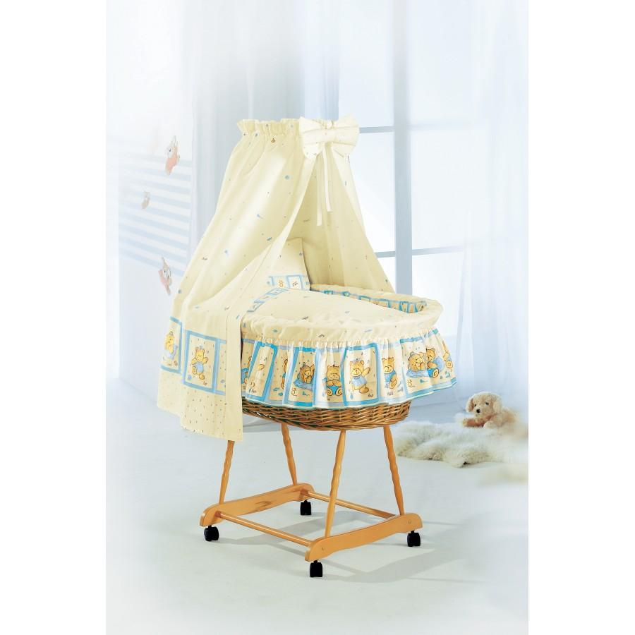 Кроватка для младенцев «Слоник» (комплект: люлька плетёная, балдахин с креплением, матрац постельное бельё)  Alvi (645494)
